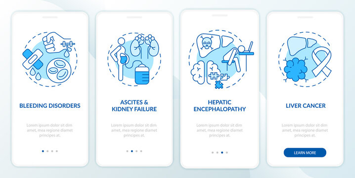 Hepatic failure outcome onboarding mobile app page screen with concepts. Bleeding disorders, tumor walkthrough 4 steps graphic instructions. UI, UX, GUI vector template with linear color illustrations