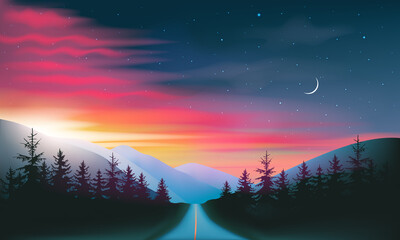 Fototapeta Night road through forest and mountains red and blue night sky and sunset landscape, vector illustration.