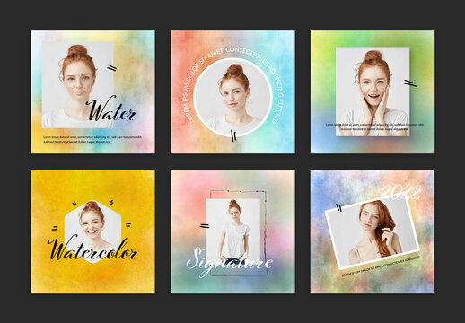Social Layouts with Water Color Backgrounds