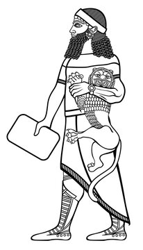 The Babylonian. The image is in the style of Babylonian relief. A Sumerian ruler with a cat and a clay tablet.