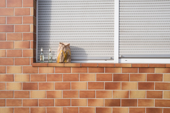 Cat Standing Against Brick Wall