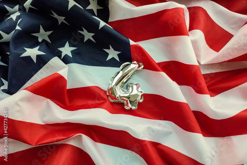Independence Day of the United States. Numeral 4 against the background of the flag of America.