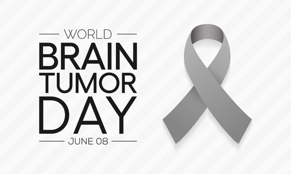 World Brain Tumor day is observed each year on June 8th. it is an overgrowth of cells in the brain that forms masses called tumors. They can disrupt the way body works. Vector illustration.