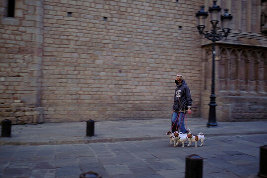 A man wearing a protective face mask walks with his pet dogs on a street in the neighborhood of Born, amid the coronavirus disease (COVID-19) outbreak, in Barcelona