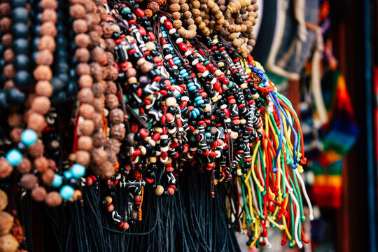 Close-up Of Decorations Hanging In Market Stall For Sale