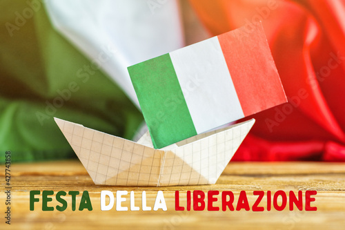 April 25 Liberation Day text in italian national holiday card, patriotic background flag of Italy