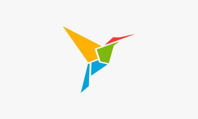 Fototapeta beautiful colorful hummingbird origami logo design concept.
