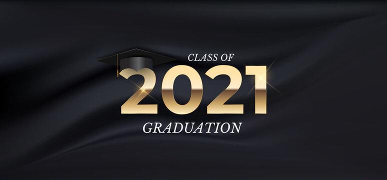 Graduation class of 2021 with graduation cap hat on black silk background. Vector Illustration