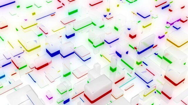 3d render. abstract light background with network of different sizes white bloks, some with multicolor glow. Visualisation of working ai with big data or blockchain technology. White matte glass.