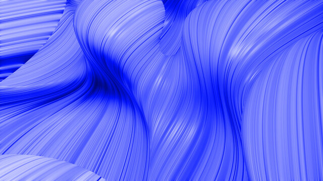 3d render. Shining blue surface, bright colorful background. Beautiful abstract background of waves on surface, color gradients, extruded lines as striped fabric surface with folds or waves on liquid