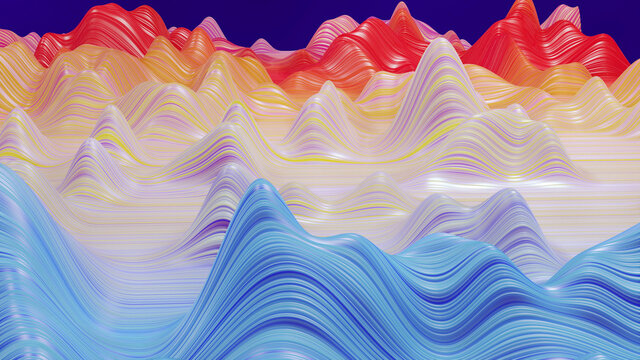3d render. Shining rainbow surface, bright colorful background. Beautiful abstract background of waves on surface, color gradients, extruded lines as striped fabric surface with folds or waves
