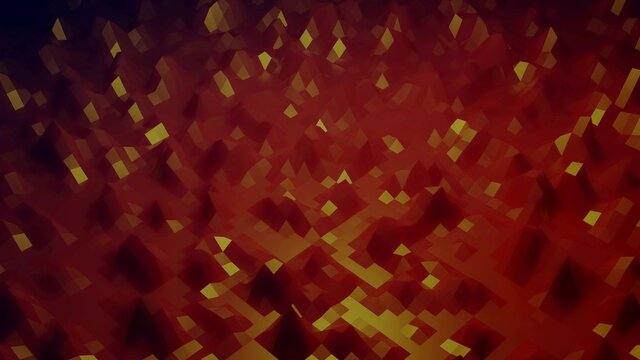 3d render. Stylish creative abstract low poly background. Abstract waves on glossy surface. Simple minimalistic geometric bg. Red orange colors.