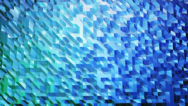 stylish creative abstract low poly background. Abstract waves on glossy surface. Simple minimalistic geometric bg. Blue gradient color. 3d render