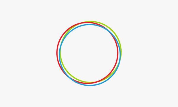 three circles line colorful logo design vector.