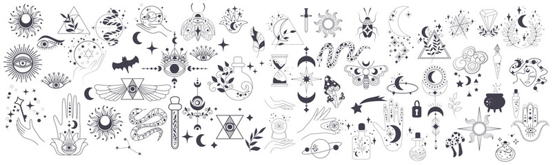 Fototapeta Mystic items, moon, hands, crystals, planets. Doodle astrology style. Doodle esoteric, boho mystical hand drawn elements. Magic and witchcraft. Vector illustration