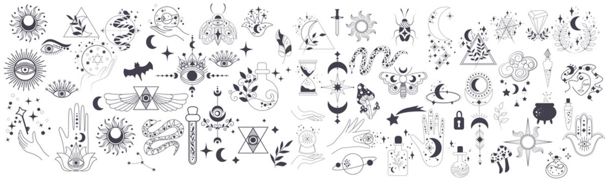 Mystic items, moon, hands, crystals, planets. Doodle astrology style. Doodle esoteric, boho mystical hand drawn elements. Magic and witchcraft. Vector illustration
