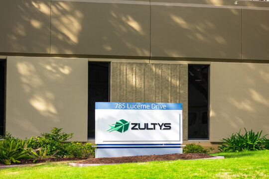 Zultys sign, logo at corporate headquarters of Zultys Technologies manufacturer of Voice-over-IP VoIP communications systems. - Sunnyvale, California, USA - 2021