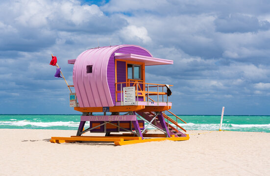 Iconic colorful life guard tower at sunny South Beach, Miami-Dade, Florida USA