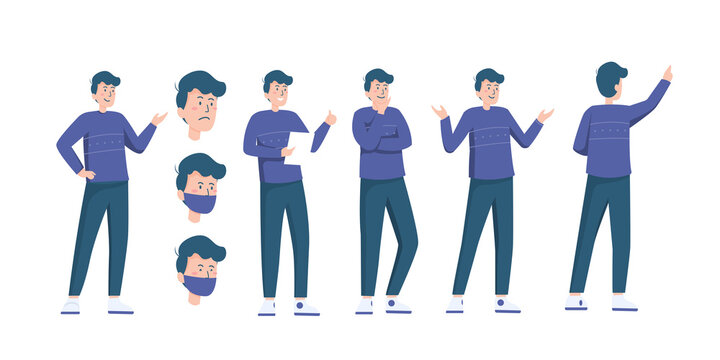 Flat illustration set of man do various pose and face expression in flat style vector easy to use