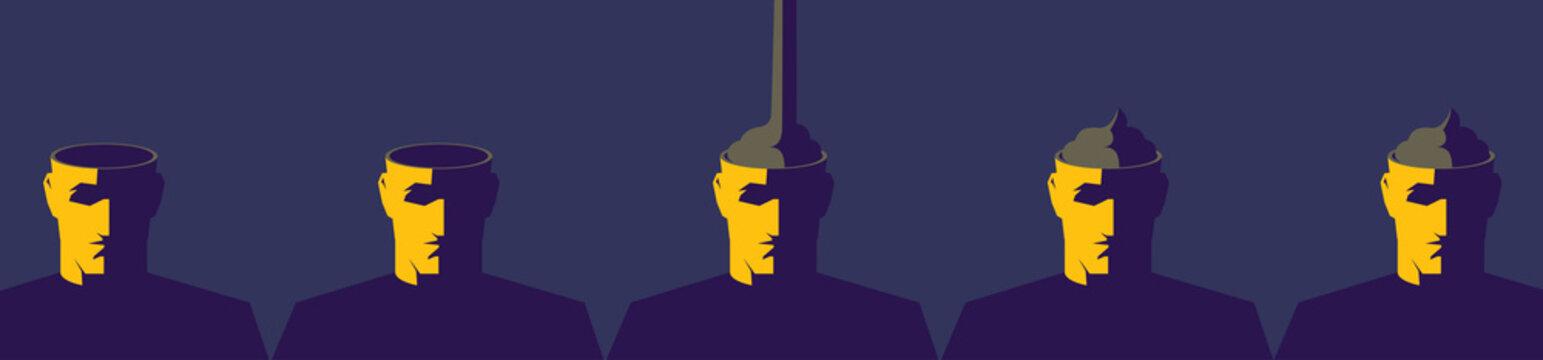 Turd fills empty heads. Propaganda and media manipulation concept illustration.