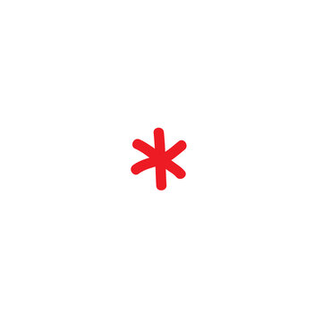 red hand drawn asterisk footnote icon. Flat icon of lopsided footnote isolated on white background.