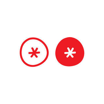 red hand drawn asterisk footnote in circle icon. Flat icon of lopsided footnote isolated on white background