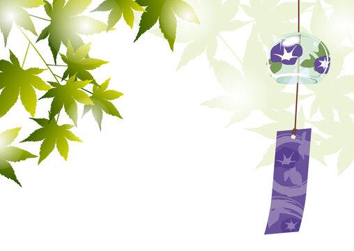 青紅葉と風鈴の背景素材_夏のイメージ
