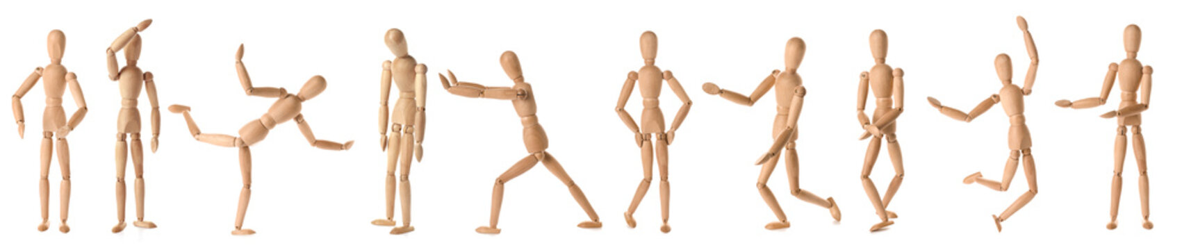 Collage of wooden mannequins in different positions on white background