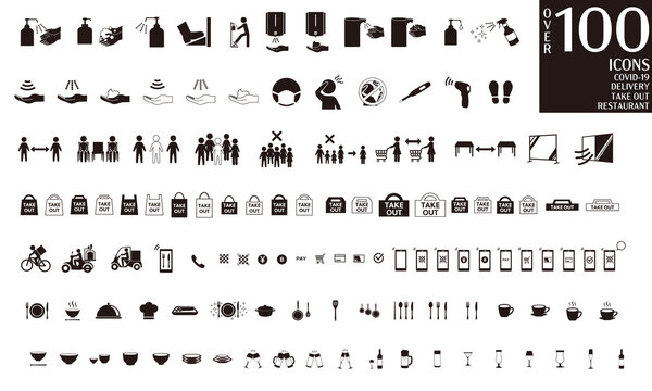Vector icon set for many types of COVID-19 infection control