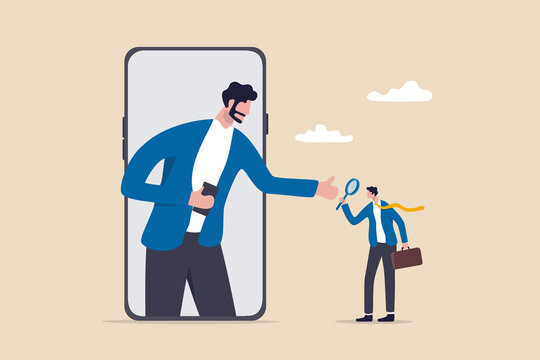 KYC, Know your customer process to identify user in online banking, cryptocurrency trading or cyber transaction concept, businessman using magnifying glass to analyze, identify user on smartphone app.