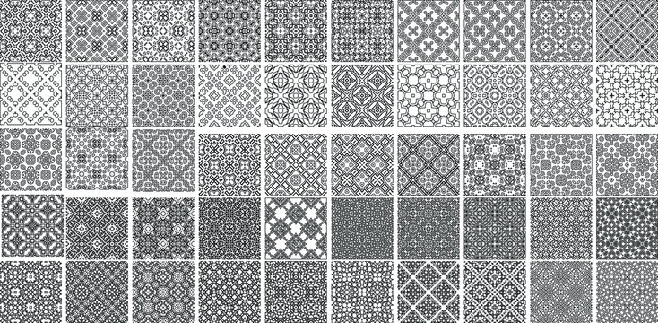 Universal different geometric seamless patterns. Endless vector texture can be used for wrapping wallpaper, pattern fills, web background,surface textures. Set of monochrome ornaments