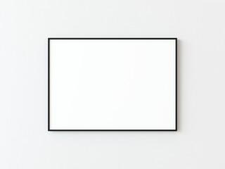 Fototapeta One black thin rectangular horizontal frame hanging on a white textured wall mockup, Flat lay, top view, 3D illustration