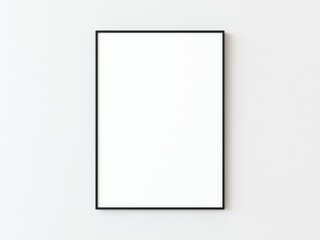 Fototapeta One black thin rectangular vertical frame hanging on a white textured wall mockup, Flat lay, top view, 3D illustration