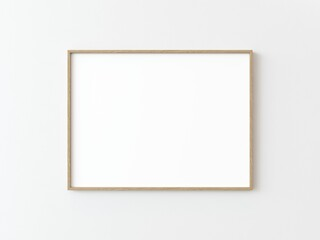 One light wood thin rectangular horizontal frame hanging on a white textured wall mockup, Flat lay, top view, 3D illustration