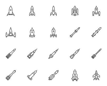 Spaceship rocket line icons set