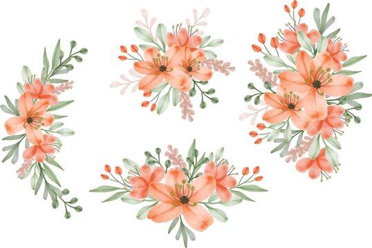 set watercolor floral frame of fresh orange, set orange watercolor flower for greeting and wedding invitation card, set orange flower bouquet