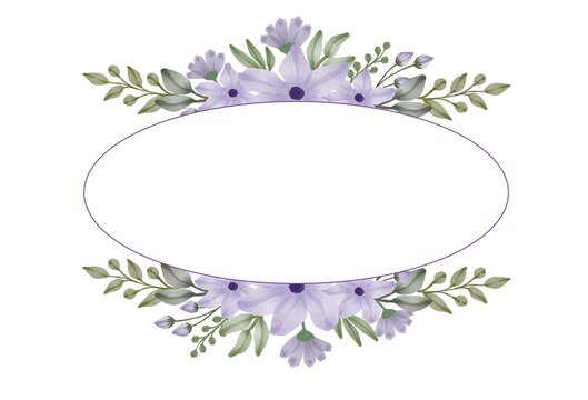 watercolor purple flower frame for greeting and wedding invitation card