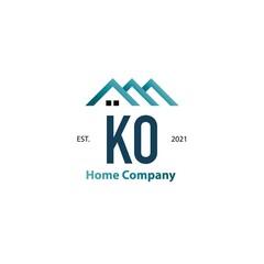 Fototapeta Initial Letter KO Home Creative Logo Design Template. Creative template logo obraz