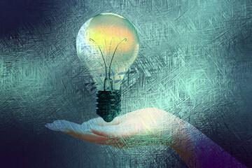 Fototapeta Eine Hand und eine Glühbirne
