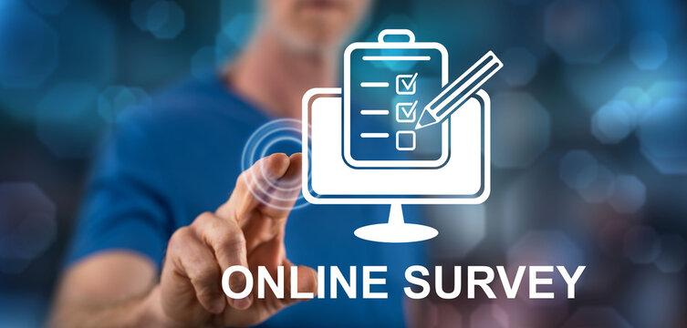 Man touching an online survey concept