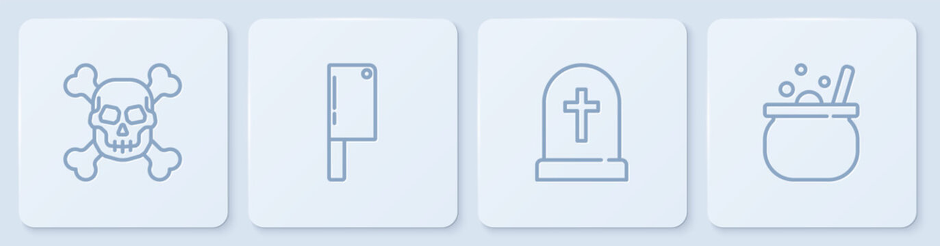 Set line Skull on crossbones, Tombstone with, Meat chopper and Halloween witch cauldron. White square button. Vector