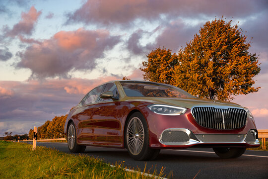 Mercedes-Maybach S-Class limousine for model year 2021 on the autumn road