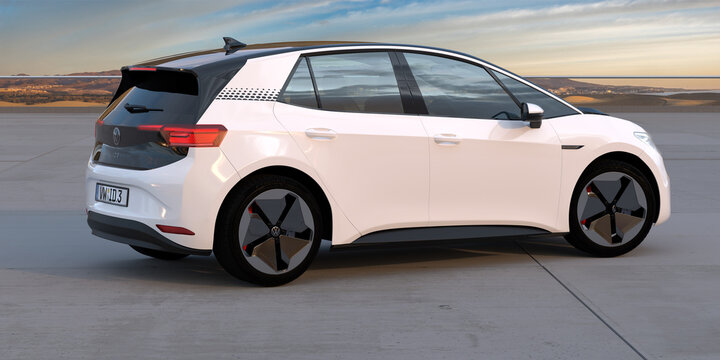 The Volkswagen ID.3 compact electric car with a beautiful landscape