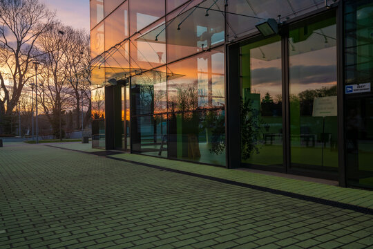 The area of the modern office complex Technopark Pomerania in Szczecin, Poland during a beautiful sunset