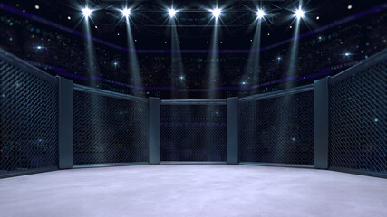 In the fighting cage. Interior view of sport arena with fans and shining spotlights. Digital sport 3D illustration.