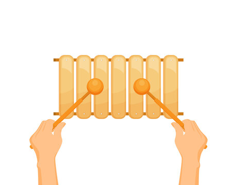 Flat vector Colorful xylophone toy
