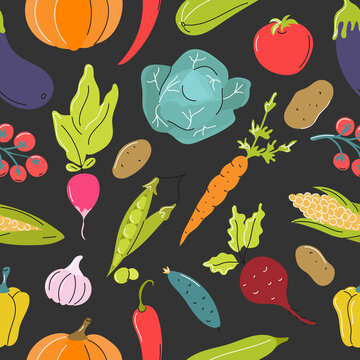 Raw vegetables, cabbage, carrots, tomatoes, beets on a dark gray background. Vector seamless pattern in flat style