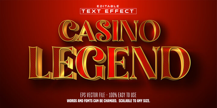 Casino Legend text, shiny golden color style, editable text effect