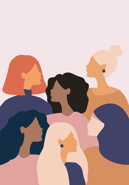 woman social network community. group of multi ethnic racial women who talk and share ideas, information. communication and friendship between women of diverse cultures. vector female silhouette