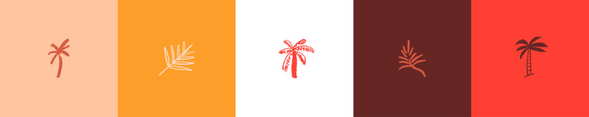 Obraz Palm tree icon for label of natural organic cosmetics, travel company logo, vector hotel sign, Hand drawn emblem tropical products. Vector isolated palm leaf symbol, tropical sign with pencil texture. - fototapety do salonu